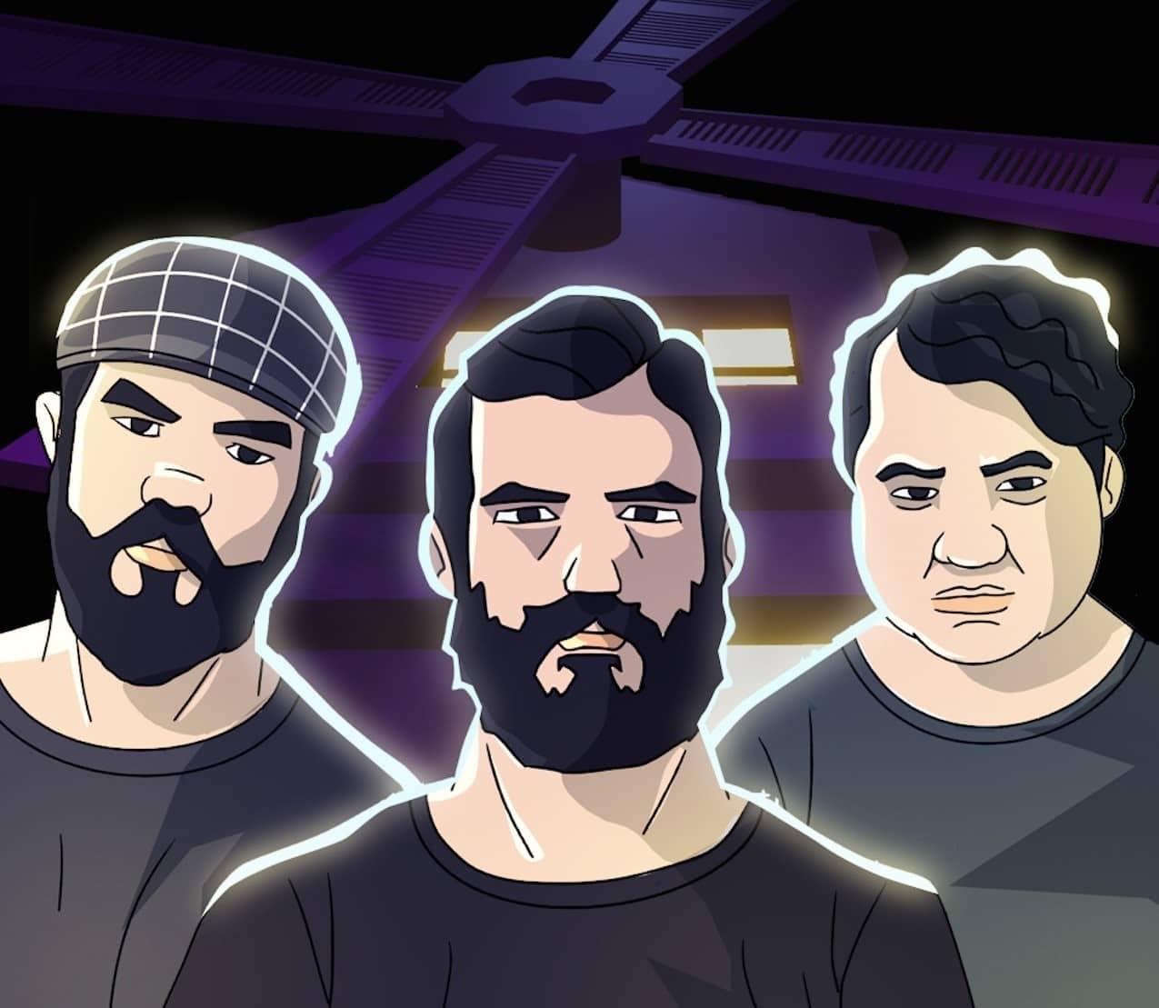 foto mostra uma caricatura com os integrantes da banda Versalles